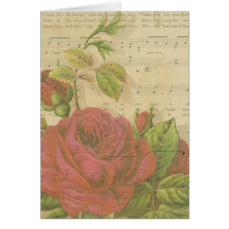 Thank You Vintage Red Roses Floral Music Sheet Card
