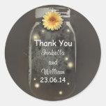 thank you vintage rustic whimsical mason jar classic round sticker