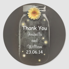 thank you vintage rustic whimsical mason jar sticker