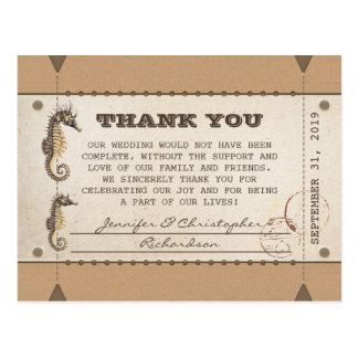 thank you vintage tickets for weddings postcard