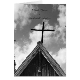 Thank You Volunteers B&W Note Card, Old Church Card