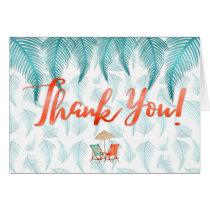 Thank You Watercolor Beach & Palms Tropical Card