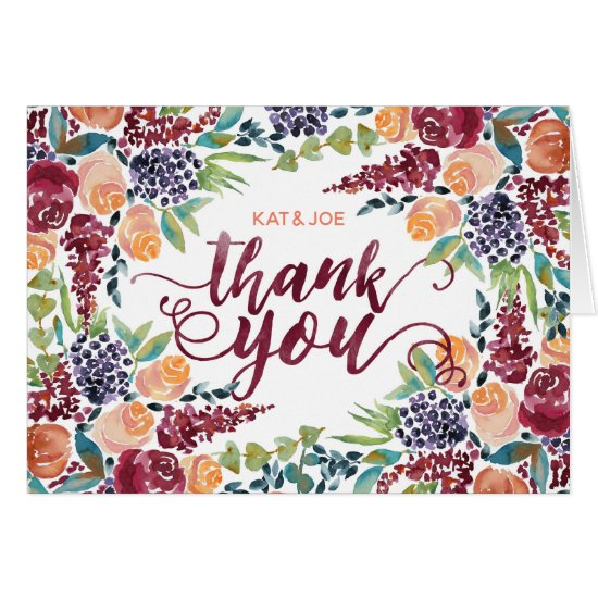 Thank You Watercolor Fall Bouquet Roses Bilberries Card