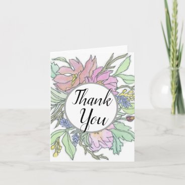 Thank You Watercolor Floral Greeting Card