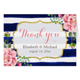 Thank You Watercolor Floral Navy Blue Stripes