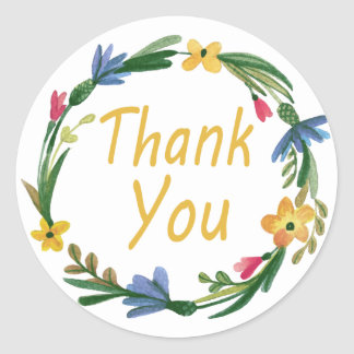 Thank You Watercolor Floral Wreath Classic Round Sticker