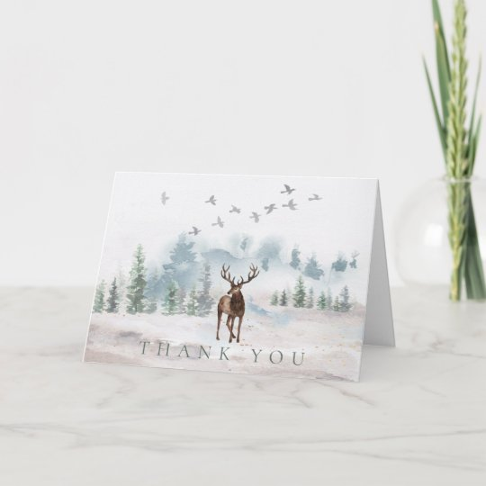 thank you watercolor forest deer card zazzle com zazzle