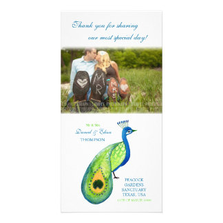 Thank You Watercolor Peacock Wedding Photo Card