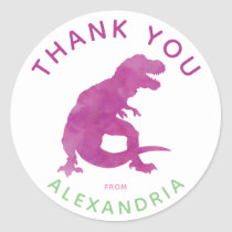 Thank You Watercolor T-Rex Dinosaur Personalized Classic Round Sticker