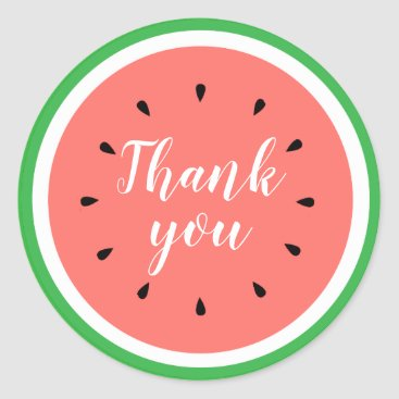 thank you watermelon classic round sticker