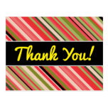 "[ Thumbnail: ""Thank You!"" + Watermelon-Inspired Stripes Postcard ]"