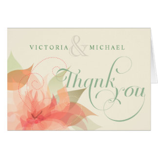 Thank You Wedding Abstract Floral Notecards Card