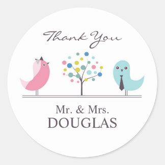 Thank You Wedding Bride and Groom Birds Sticker