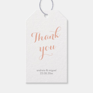 Thank You Wedding Calligraphy Script Coral Gray Gift Tags