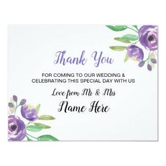 Thank You Wedding Card Purple Flower Floral