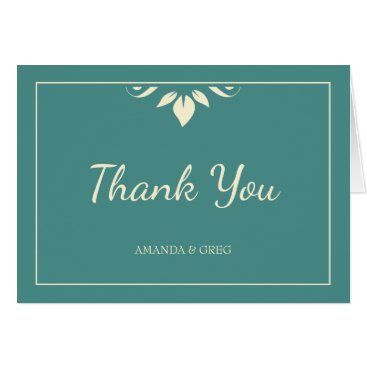 Wedding Themed Thank You Wedding Card With Thin Border