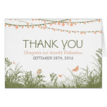 Thank you wedding card with wild flowers & lights
