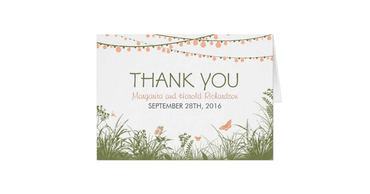 Thank You Wedding Card With Wild Flowers Amp Lights