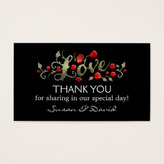 Thank You Wedding Cards - Love black & Red Roses