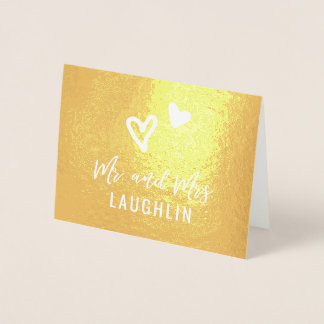 Thank You Wedding Cards REAL GOLD FOIL Hearts