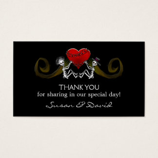 Thank You Wedding Cards - Skeletons Holding Heart