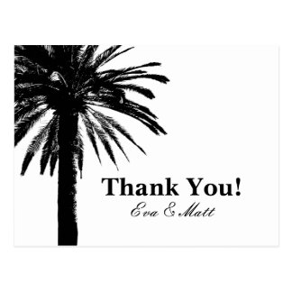 Thank you wedding cards with palm tree image postcard