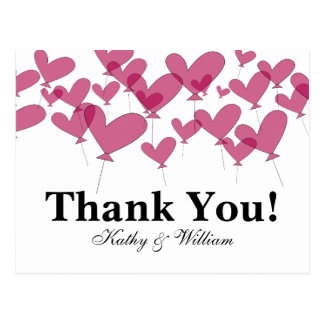 Thank you wedding cards with red heart balloons