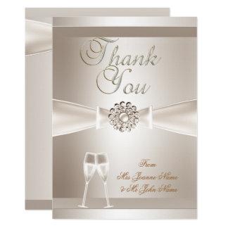 Thank You Wedding Damask Cream White Champagne Invitation