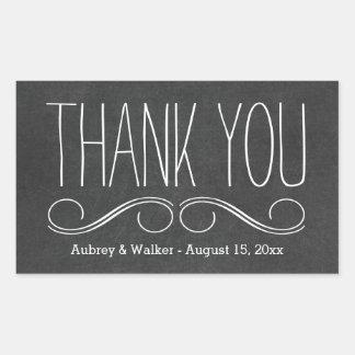 Thank You Wedding Favor Black Chalkboard Stickers