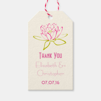 Thank You Wedding Favor Lotus Flower Gift Tags