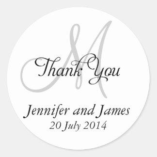 Thank You Wedding Favour Stickers Monogram