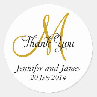 Thank You Wedding Favour Stickers Monogram Gold