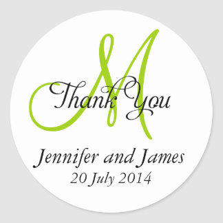Thank You Wedding Favour Stickers Monogram Green
