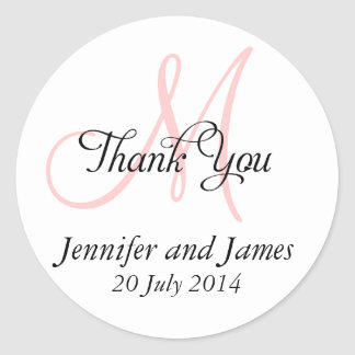 Thank You Wedding Favour Stickers Monogram Pink