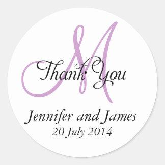 Thank You Wedding Favour Stickers Monogram Purple