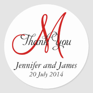 Thank You Wedding Favour Stickers Monogram Red
