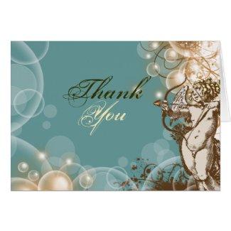 Thank you wedding floral swirls card