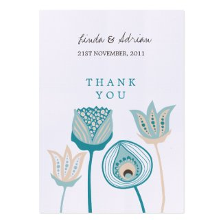 Thank You Wedding Gift Favor Tags Turquoise Business Cards