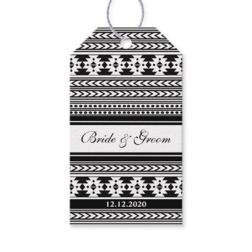 Aztec Themed Thank You Wedding Gift Tags-Black Aztec Pattern Gift Tags