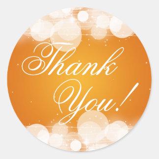Thank You Wedding Glow & Sparkle Orange Classic Round Sticker