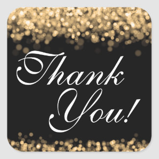 Thank You Wedding Gold Lights Square Sticker