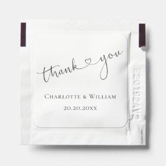 Thank You Wedding Heart Typography Personalized Hand Sanitizer Packet