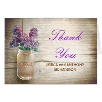 thank you wedding mason jar rustic design cards