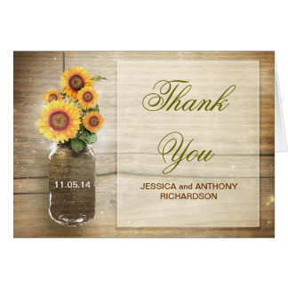 thank you wedding mason jar rustic design cards