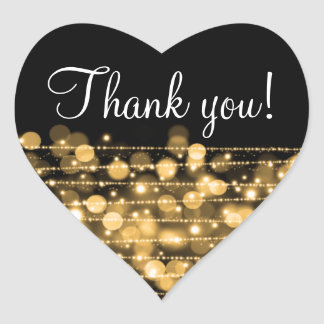Thank You Wedding Party Sparkles Gold Heart Sticker
