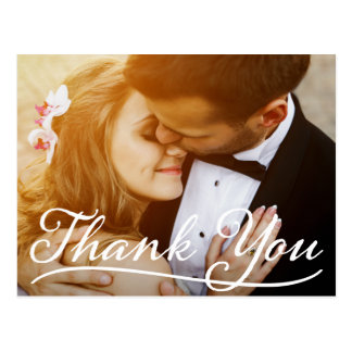 Thank You Wedding Photo Cute Couple Fancy Script Postcard