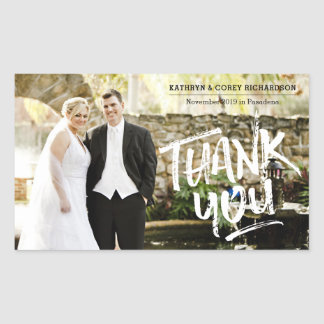 Thank You Wedding Photo Hand Lettered Brush Style Rectangular Sticker