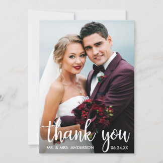 Thank You Wedding Photo Modern Script Card