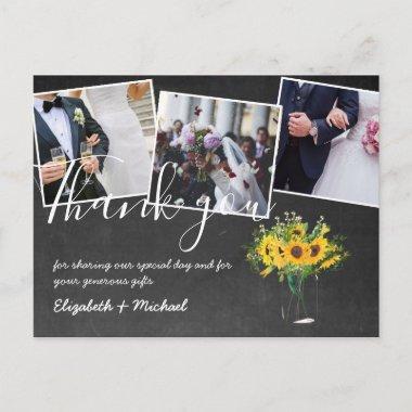 Thank You Wedding Photos Overlay Text Chalkboard Postcard