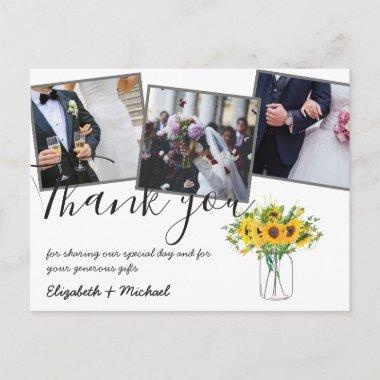 Thank You Wedding Photos Overlay Text Sunflowers Postcard